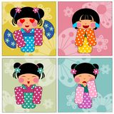 Japan kids girl cartoon. Japan kids cartoon cute illustrations concept colorful Stock Image