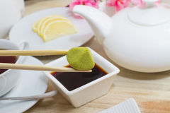 Japan kitchen with wasabi soy sauce and many else Royalty Free Stock Photography