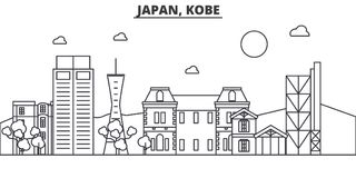 Japan, Kobe architecture line skyline illustration. Linear vector cityscape with famous landmarks, city sights, design Stock Photo