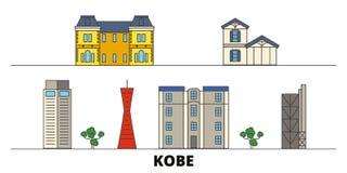 Japan, Kobe flat landmarks vector illustration. Japan, Kobe line city with famous travel sights, skyline, design. Japan, Kobe flat landmarks vector illustration stock illustration