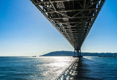 JAPAN,KOBE - 17 JAN 2017. Akashi Kaikyo Bridge, also known as the Pearl Bridge, links the city of Kobe on the mainland of Honshu to Iwaya on Awaji Island Stock Photography