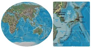Japan Korea and Asia Oceania map. Japan North Korea South Korea close up from Asia Oceania map Royalty Free Stock Images