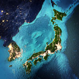 Japan and Korea. Elements of this image furnished by NASA. 3D rendering royalty free illustration