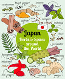 Japan-Kräuter und -gewürze Lizenzfreies Stockfoto