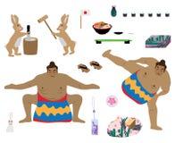 Japan kulturuppsättning royaltyfri illustrationer