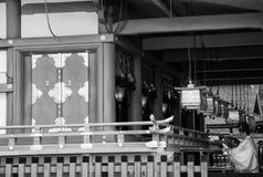 Japan, Kyoto – Kiyomizu Temple, Kansai District, Japanese monk praying (black and white) Stock Photos