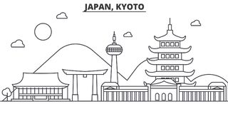 Japan, Kyoto architecture line skyline illustration. Linear vector cityscape with famous landmarks, city sights, design Stock Photography