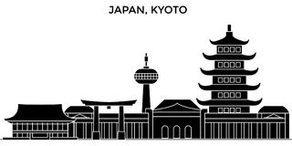 Japan, Kyoto architecture vector city skyline, travel cityscape with landmarks, buildings, isolated sights on background Stock Photos