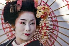 Japan - Kyoto - den Gion grannskapen och geishaen royaltyfria foton