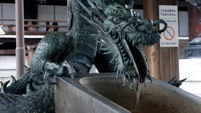 Japan, Kyoto - january 2019 Bronze Dragon Statue. Bronze Dragon Statue in the temple stock video footage