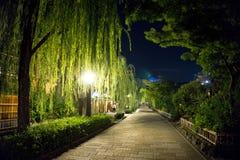 Japan, Kyoto, Nachtmening van een weg langs de rivier royalty-vrije stock foto