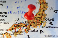 Japan, Kyoto pinned map. Copy space available royalty free stock photos