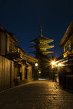 Japan Kyoto - Yasaka Pagoda and Sannen Zaka Street in the night Stock Photo