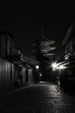 Japan Kyoto - Yasaka Pagoda and Sannen Zaka Street in the night. (black and white) Stock Photos