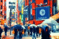 japan La gente che cammina su una via Illustrazione Pittura fotografia stock libera da diritti