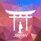 Japan label or logo over geometric background Stock Photography