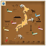 Japan Landmark Business And Travel Infographic Stock Photography