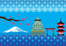 Japan Landmark and Culture Vector Stock Image
