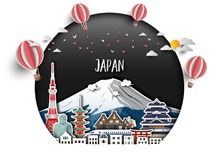 Free Japan Landmark Global Travel And Journey Paper Background. Vector Design Template.used For Your Advertisement, Book, Banner, Royalty Free Stock Images - 142356109