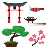 Japan landmark travel vector icons collection culture sign design elements travel time vector illustration. Asian decorative famous sign Royalty Free Stock Photos
