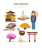Japan landmarks - building, beverages, clothing, food, art, trees. Royalty Free Stock Image