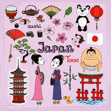 Japan landmarks and cultural icons vector set. With Geisha girls Torii Gates sumo wrestler fans panda paper lantern bonsai cherry blossom koi bamboo tea and royalty free illustration