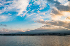 Japan landscape with Mount Fuji and Lake Kawaguchi. (Kawaguchiko)-Mountian Fuji is the famous volcano with Lake Kawaguchi part of Fuji Five Lakes in Fuji-Hakone stock image