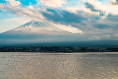 Japan landscape with Mount Fuji and Lake Kawaguchi. (Kawaguchiko)-Mountian Fuji is the famous volcano with Lake Kawaguchi part of Fuji Five Lakes in Fuji-Hakone stock photos
