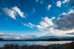 Japan landscape with Mount Fuji and Lake Kawaguchi. (Kawaguchiko)-Mountian Fuji is the famous volcano with Lake Kawaguchi part of Fuji Five Lakes in Fuji-Hakone stock photo