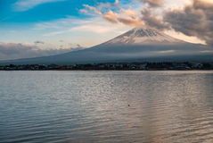 Japan landscape with Mount Fuji and Lake Kawaguchi. (Kawaguchiko)-Mountian Fuji is the famous volcano with Lake Kawaguchi part of Fuji Five Lakes in Fuji-Hakone royalty free stock photography