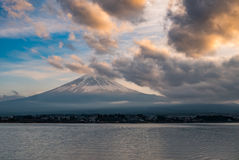 Japan landscape with Mount Fuji and Lake Kawaguchi. (Kawaguchiko)-Mountian Fuji is the famous volcano with Lake Kawaguchi part of Fuji Five Lakes in Fuji-Hakone royalty free stock images
