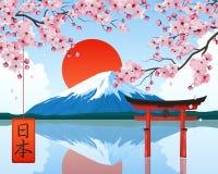 Japan Landscape Symbols Realistic royalty free illustration