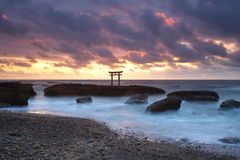Japan landscape of traditional Japanese gate and sea Royalty Free Stock Photo