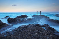 Japan landscape of traditional Japanese gate and sea Royalty Free Stock Images