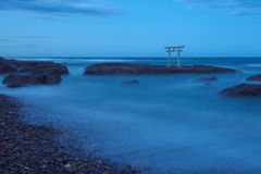 Japan landscape of traditional Japanese gate and sea Stock Photo