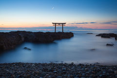 Japan landscape of traditional Japanese gate and sea Stock Photos