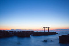 Japan landscape of traditional Japanese gate and sea Royalty Free Stock Photography