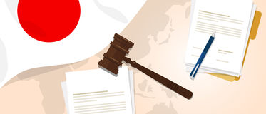 Japan law constitution legal judgment justice legislation trial concept using flag gavel paper and pen. Vector royalty free illustration