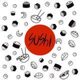 Japan-Lebensmittelmenürestaurant Asiatisches Lebensmittel-Plakat Draufsichtrahmenvektorillustration Lizenzfreie Stockbilder