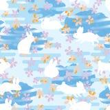 Japan line flower rabbit watercolor stripe cloud seamless pattern. This illustration is design white rabbit with watercolor stripe cloud with Japanese stylish vector illustration