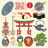 Japan loppaffisch - lopp till Japan Uppsättning av asiatiska symboler royaltyfri illustrationer