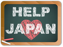 Japan Love on Blackboard. Earthquake and Tsunami Stock Images