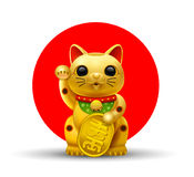 Japan lucky cat golg. Japan lucky cat.Maneki.Neko cat.gold vector illustration Stock Photos