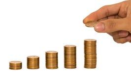 Japan-Münze und Goldgeld auf dem Schreibtisch Lizenzfreie Stockfotografie