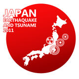 Japan man illustration with danger on nuclear powe stock photography