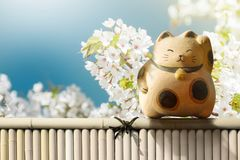 Japan Maneki Neko or Beckoning Cat standing on Bamboo Fence over. Japanese Blossom Sakura Flower. Mascot of Lucky, Fortune and Money stock photography