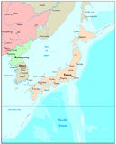 Japan map. Political continental map Stock Images