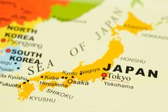 Japan on map stock photos