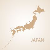 Japan map brown vector illustration Royalty Free Stock Photography