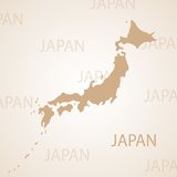 Japan map brown vector illustration Stock Photo